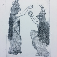 """gossips and braggarts"" etching 2018 - If someone does a good deed and there is no one around to witness it, and God and the Devil were blinking at that moment, does it still count? If no one ever knew what a good person you are, what would your label be?"