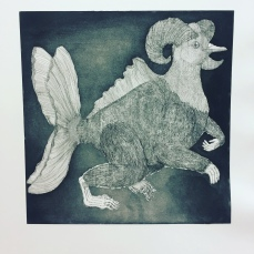 """Lantuch"" aquatint etching 2018 - A lantuch is a helpful creature that doesn't play tricks on humans, but does good deeds. In ""The Lantuch"" a blind daughter and her sick mother who were left penniless were taken care of by a lantuch who provided them with food and water. Lantuchs don't usually move out of their house, even if the people they care for move away, and they don't live forever."
