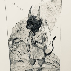 """a full-grown devil"" etching 2018 - It seems that devils and demons get the same joy from distracting and deceiving humans as humans do. Therefore, we are definitely worse creatures, because devils cooperate among themselves to do their work, but humans hinder each other. What makes us better than them? Hard to say really besides that it is the way it is. Has that ever been an acceptable excuse for anything?"