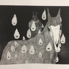 """Duma"" aquatint etching 2018 - Duma is the angel of death and silence. In Singer's stories, it is often named, but in many different situations. The discovery of Duma leads one to consider that perhaps devils and angels are really the same thing. Singer questioned everything; because in the end, the only thing that is true about living is death and its inevitability, but the living will never know what death is, so how can we know what life is?"